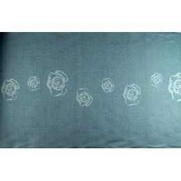 Galon lin Roses gris bleu