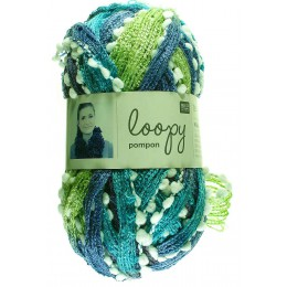 Laine écharpe Loopy pompon turquoise