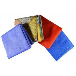 Lot de 4 coupons de tissus patchwork bleu rouge