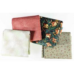Lot de 4 coupons tissus patchwork vert