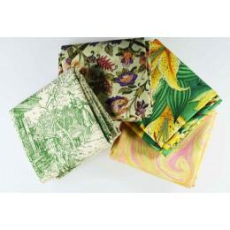 Lot de 4 coupons tissus patchwork vert jaune