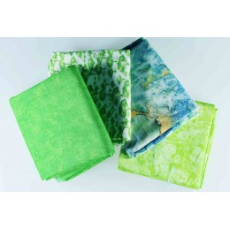 Lot de 4 coupons tissu vert