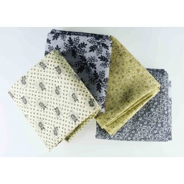 Lot de 4 coupons tissus patchwork beige gris